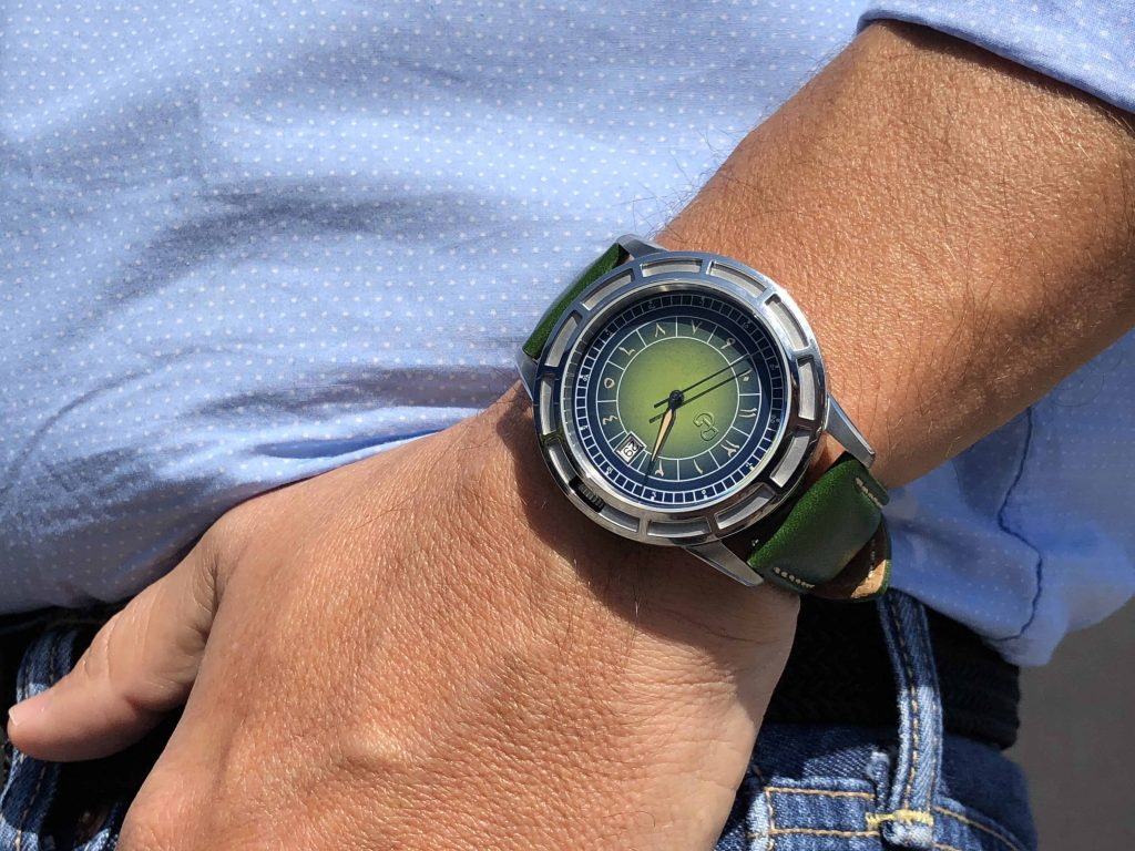 Pierre Gaston Date with limited edition blue and green Eastern Arabic dial.